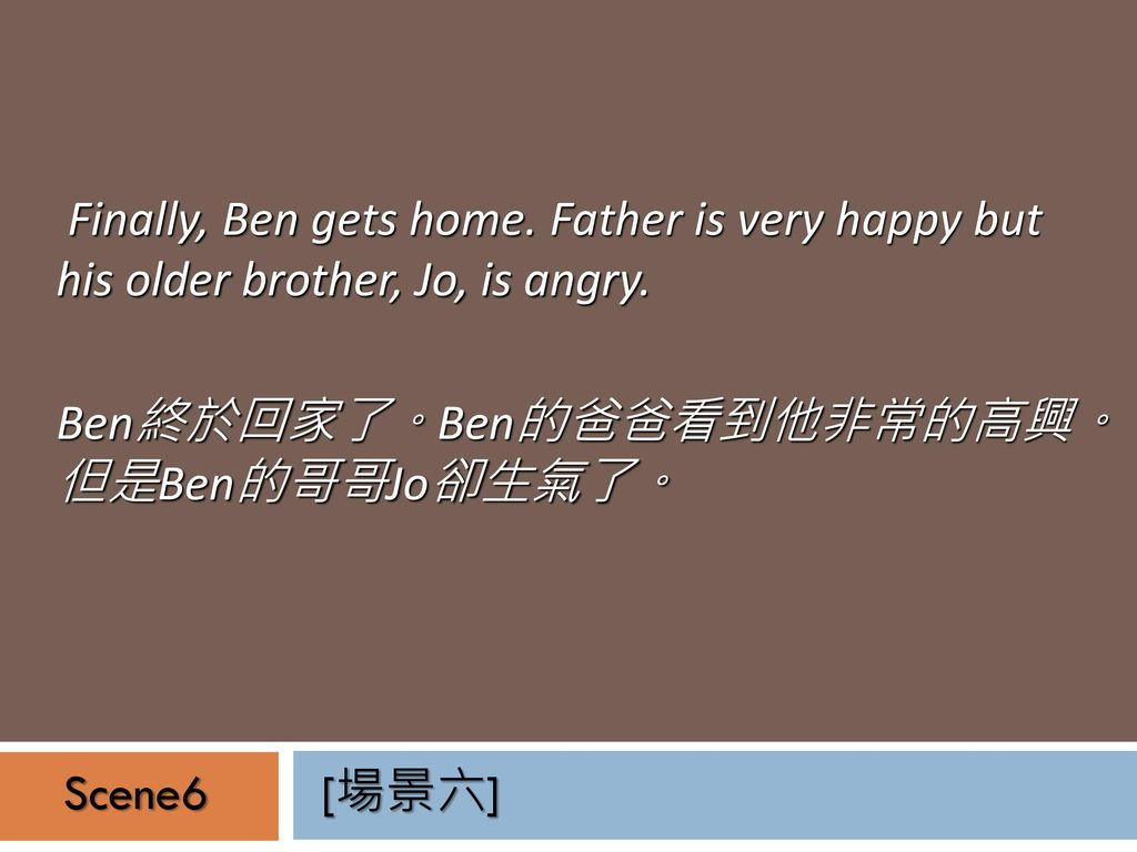 Finally, Ben gets home. Father is very happy but his older brother, Jo, is angry.