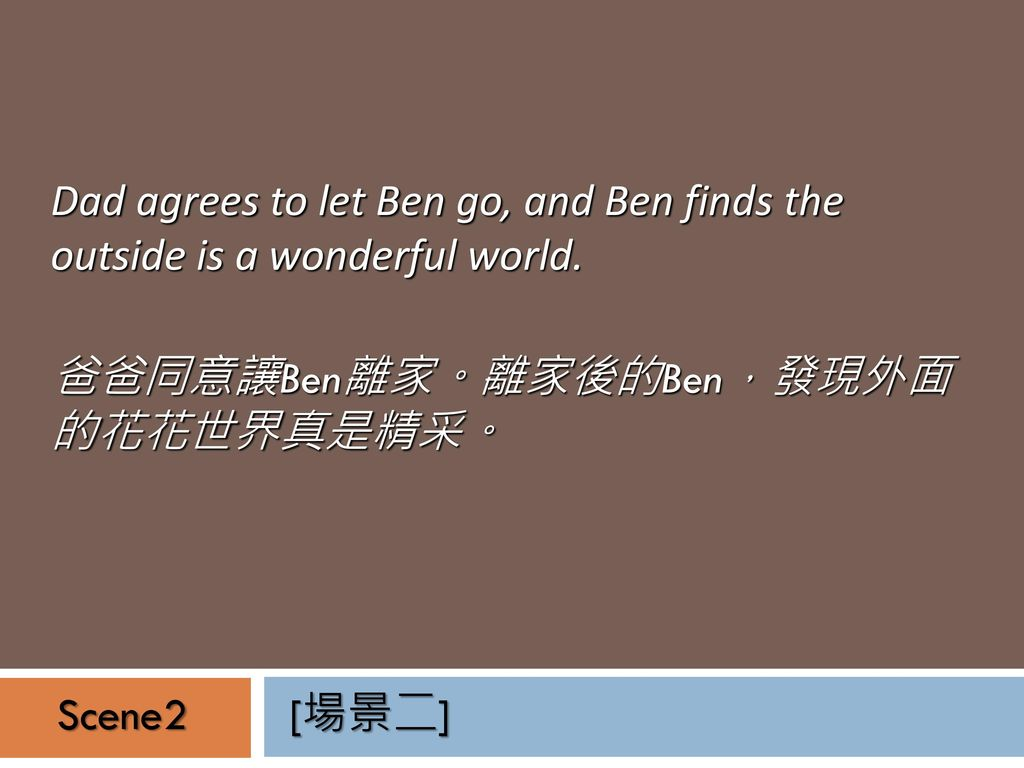Dad agrees to let Ben go, and Ben finds the outside is a wonderful world.