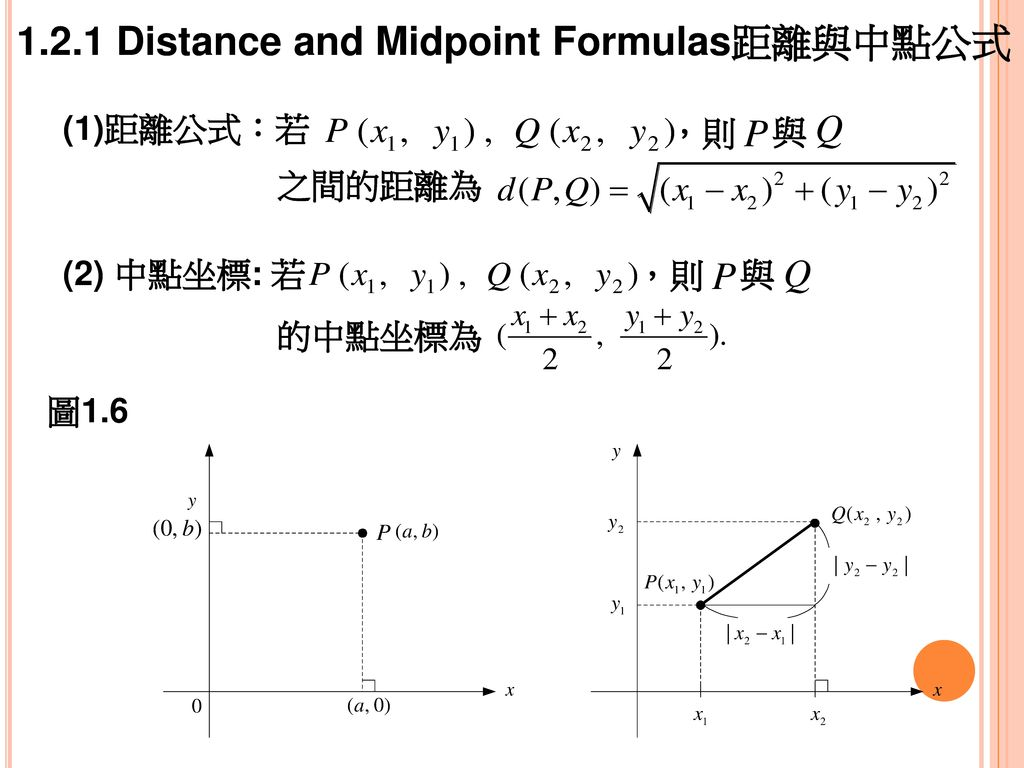 1.2.1 Distance and Midpoint Formulas距離與中點公式
