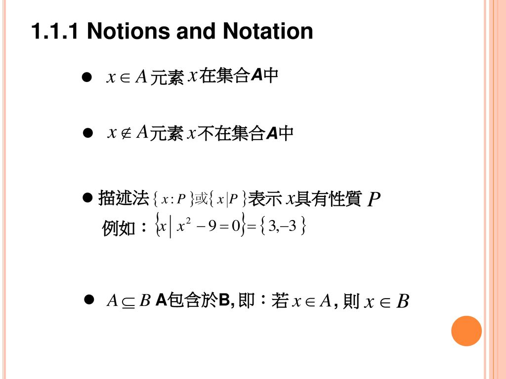 1.1.1 Notions and Notation 元素 在集合A中 元素 不在集合A中 描述法 表示 具有性質 例如: 即:若