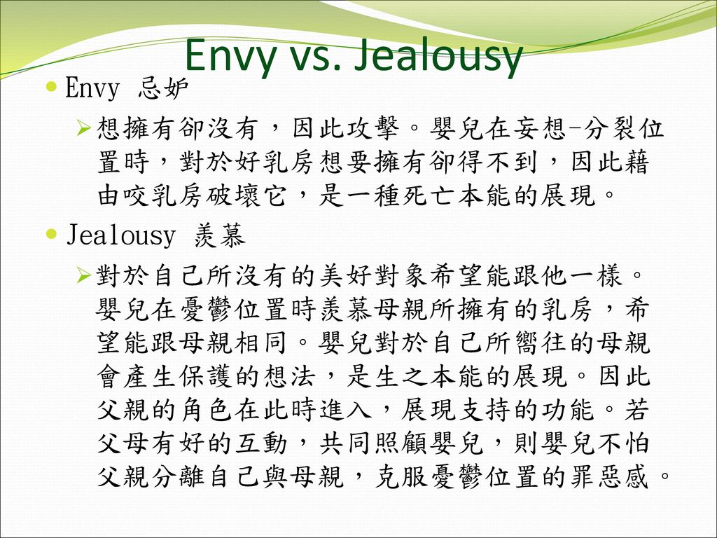 Envy vs. Jealousy Envy 忌妒