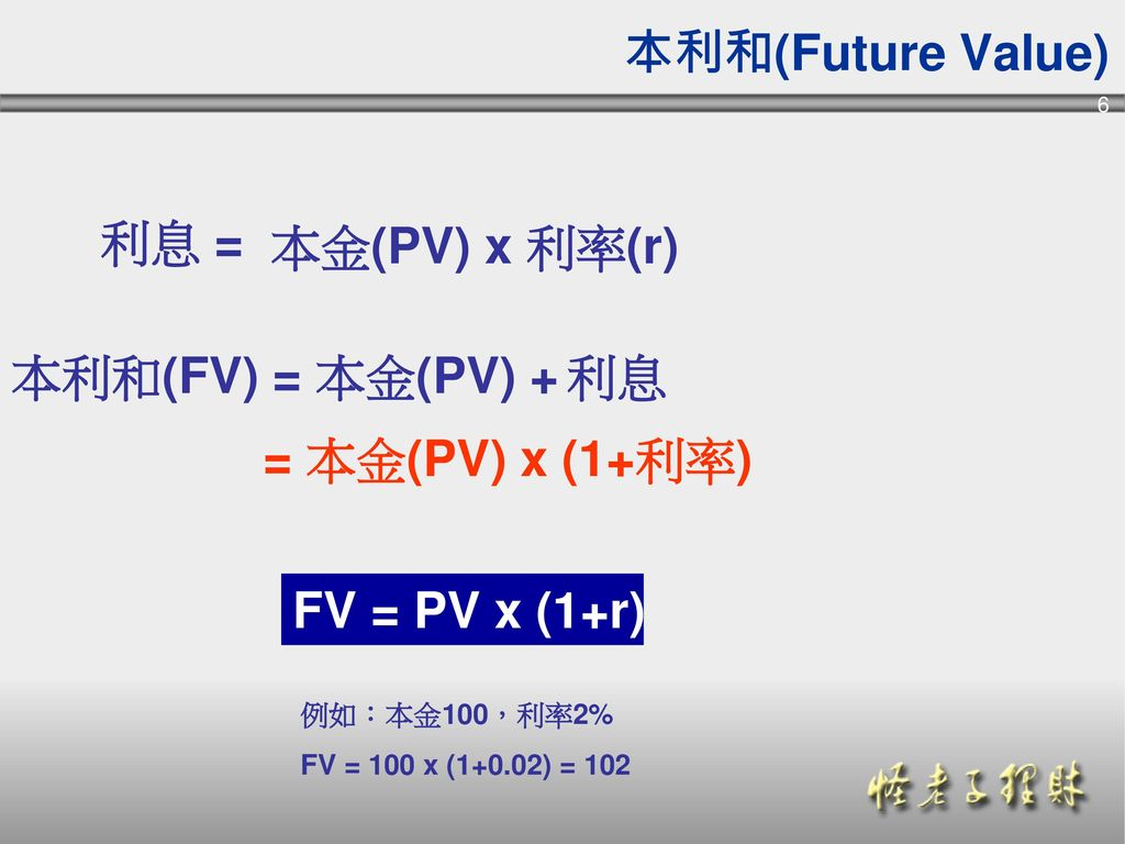 本利和(Future Value) 利息 = 本金(PV) x 利率(r) 本利和(FV) = 本金(PV) + 利息