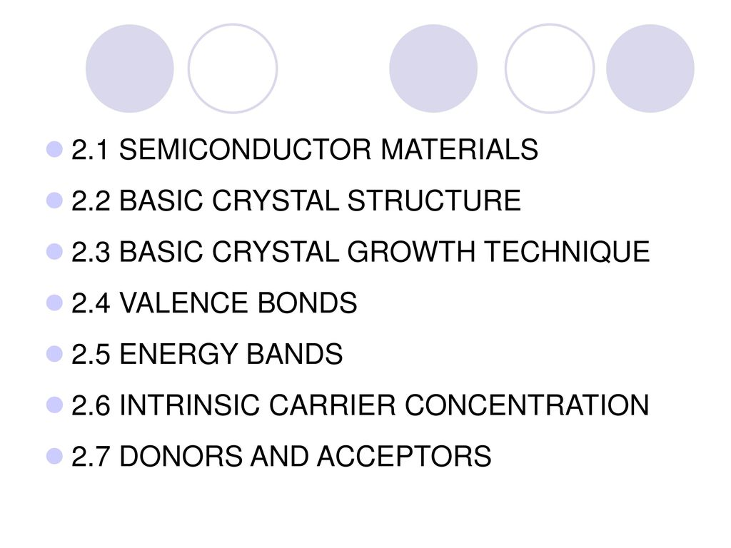 2.1 SEMICONDUCTOR MATERIALS