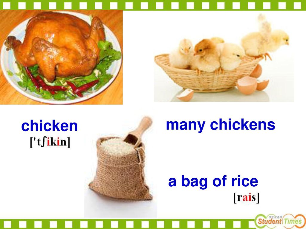 chicken many chickens a bag of rice