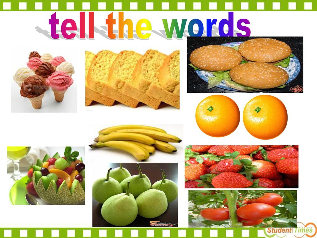 oranges bananas salad pears ice-cream hamburgers bread strawberries