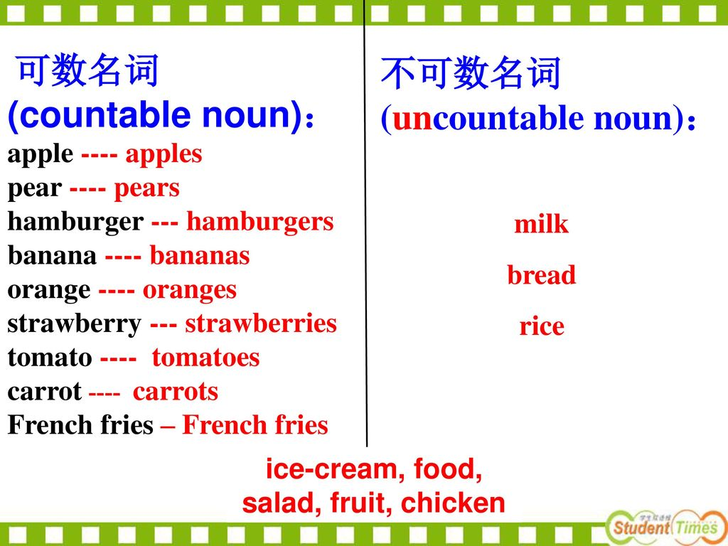 不可数名词 (uncountable noun):