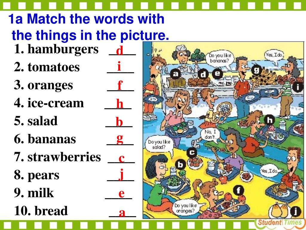 1a Match the words with the things in the picture. 1. hamburgers ____. 2. tomatoes ____.