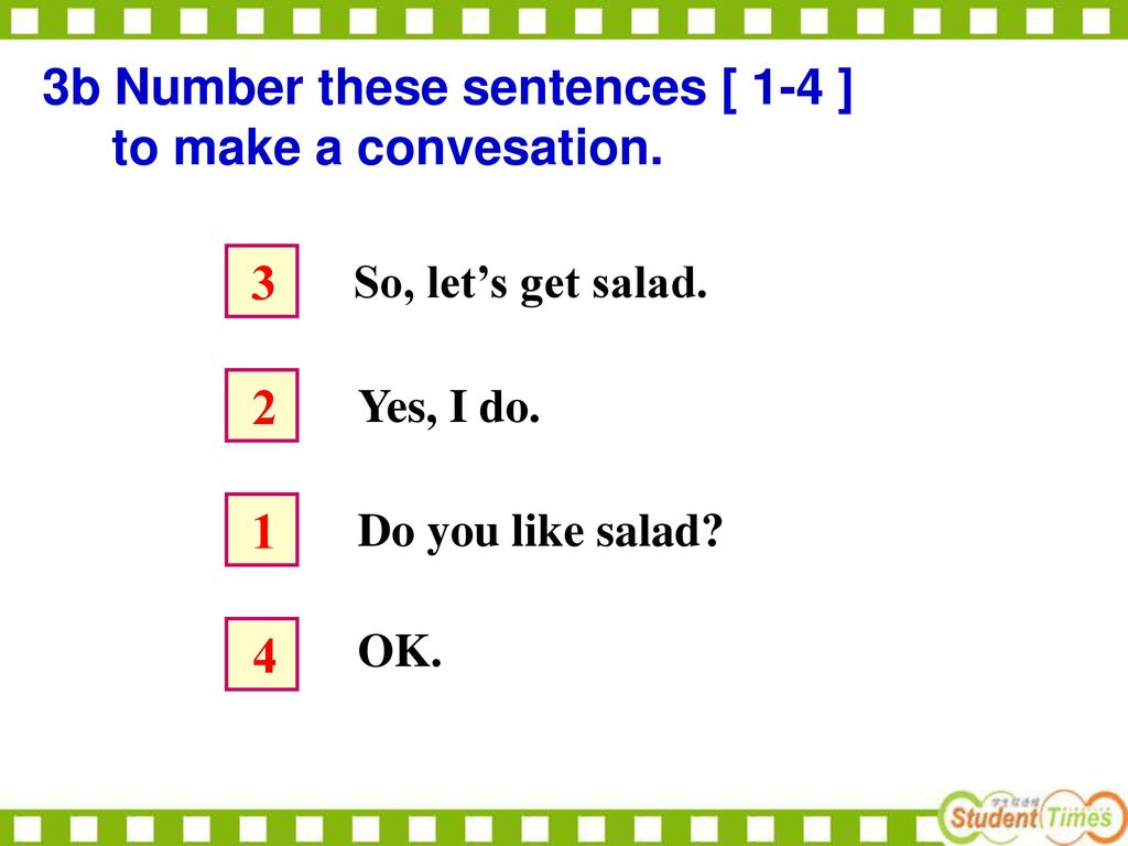3b Number these sentences [ 1-4 ] to make a convesation.