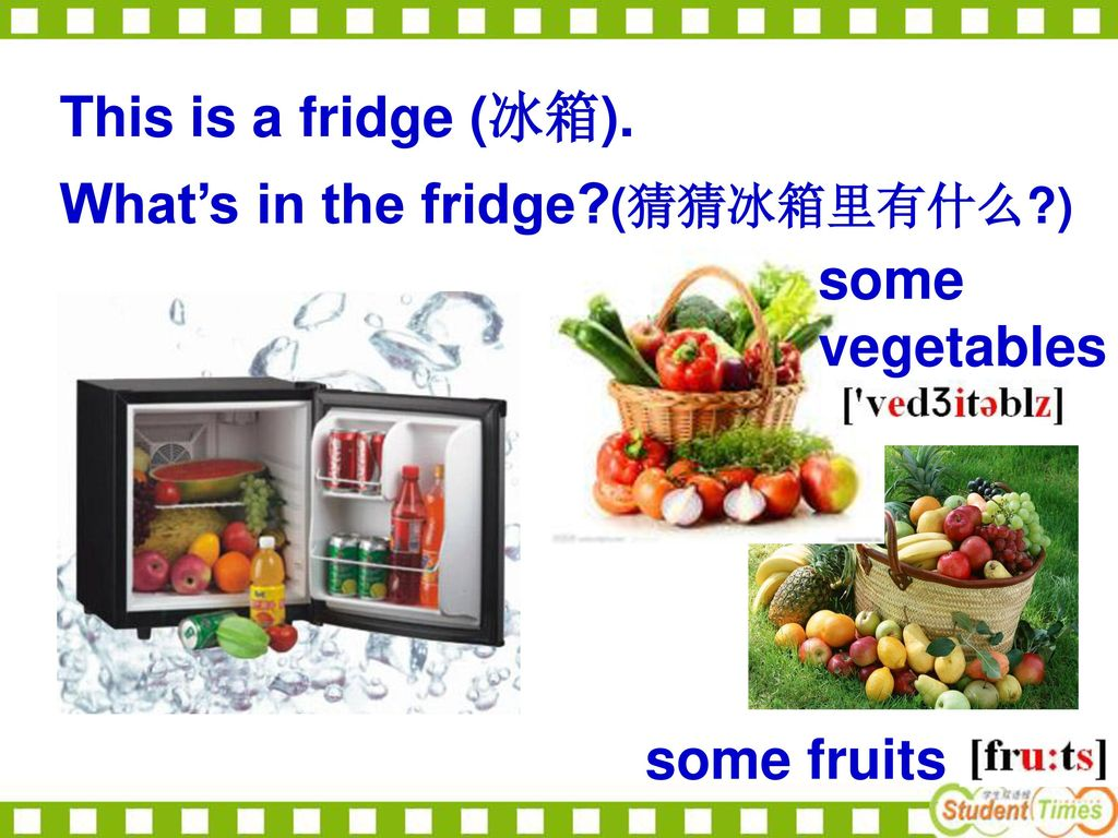 This is a fridge (冰箱). What's in the fridge (猜猜冰箱里有什么 ) some vegetables some fruits