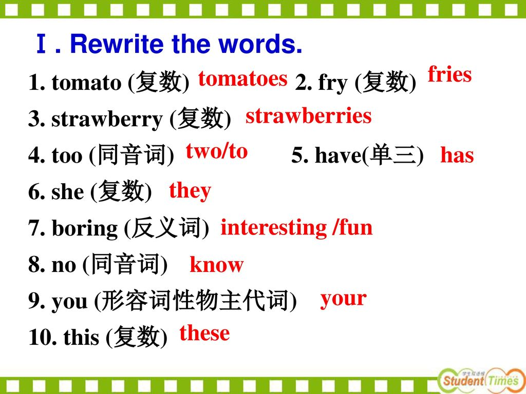 Ⅰ. Rewrite the words. 1. tomato (复数) 2. fry (复数) fries