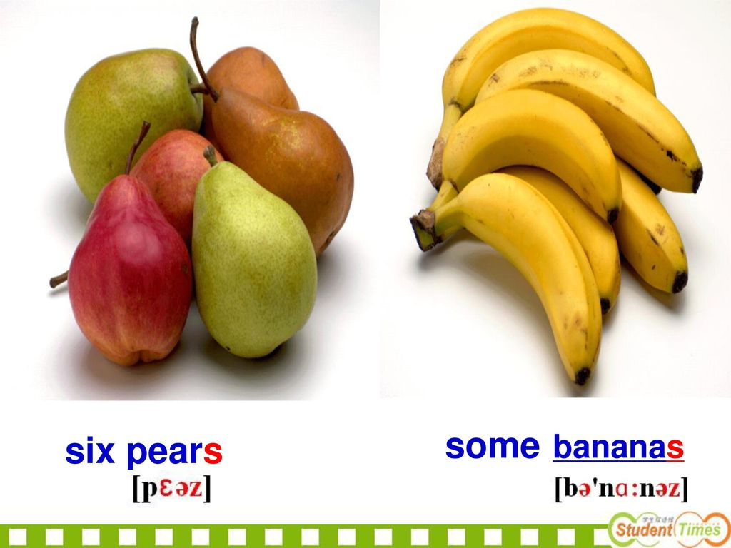 some bananas six pears