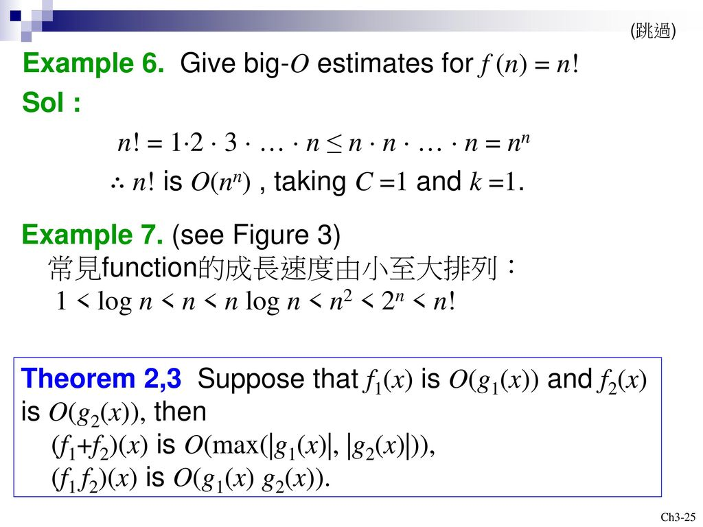 Example 6. Give big-O estimates for f (n) = n! Sol :