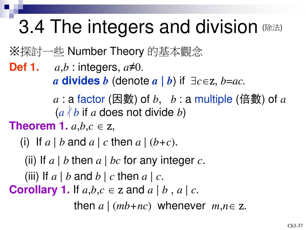 3.4 The integers and division