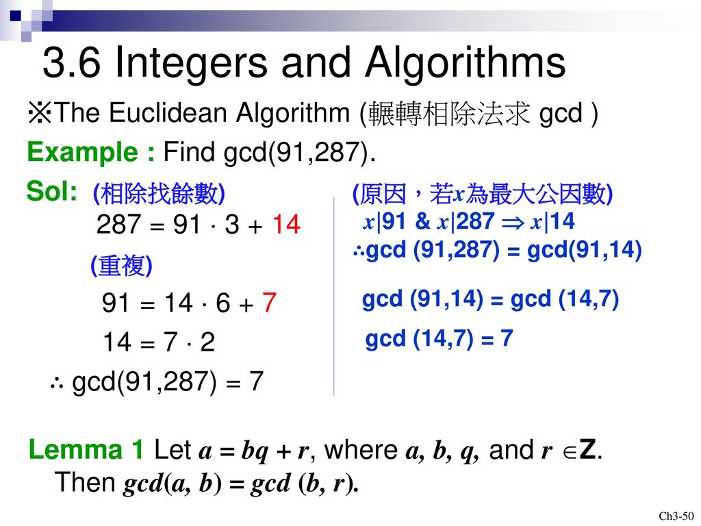 3.6 Integers and Algorithms