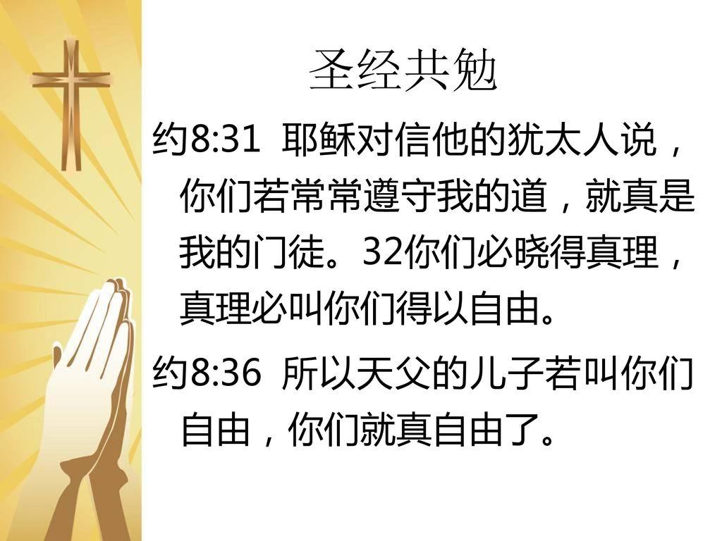 """Image result for """"真理必叫你们得以自由。""""(约8: 32)"""