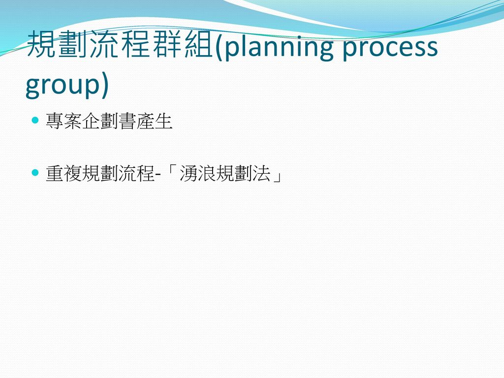 規劃流程群組(planning process group)