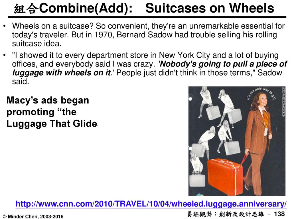 組合Combine(Add): Suitcases on Wheels