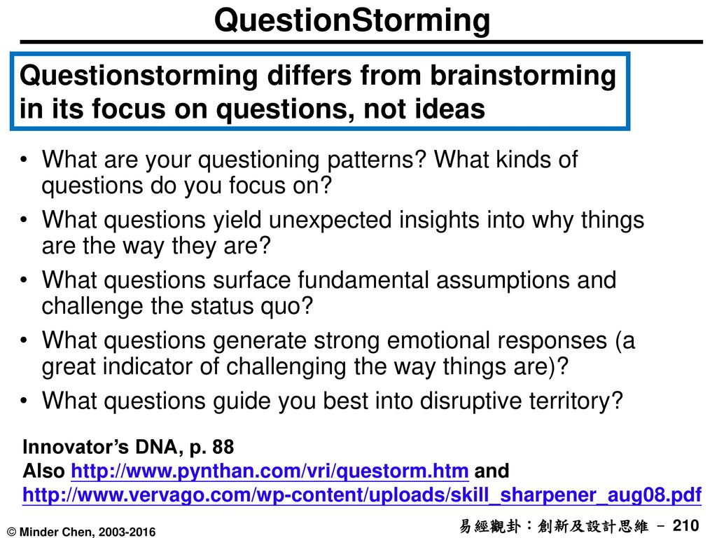 QuestionStorming Questionstorming differs from brainstorming in its focus on questions, not ideas.