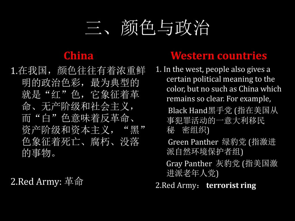 三、颜色与政治 China Western countries