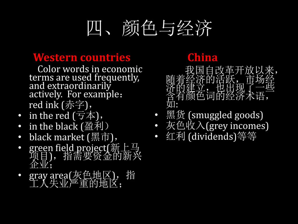 四、颜色与经济 Western countries China