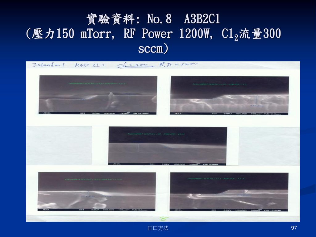 實驗資料: No.8 A3B2C1 (壓力150 mTorr, RF Power 1200W, Cl2流量300 sccm)