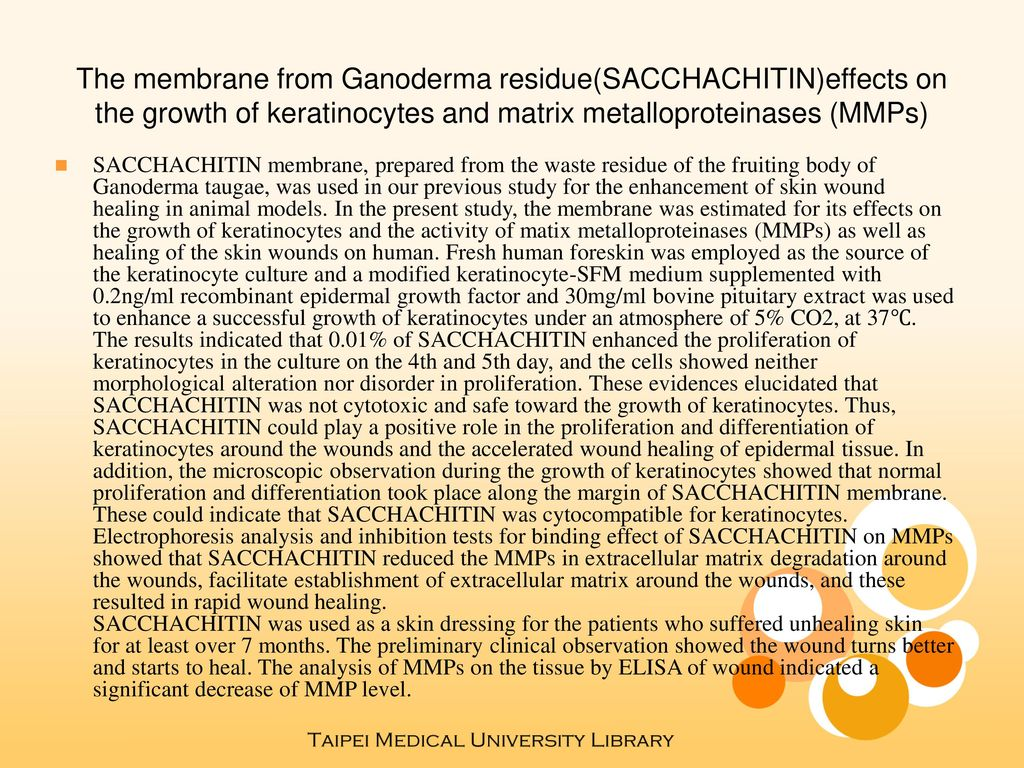 The membrane from Ganoderma residue(SACCHACHITIN)effects on the growth of keratinocytes and matrix metalloproteinases (MMPs)