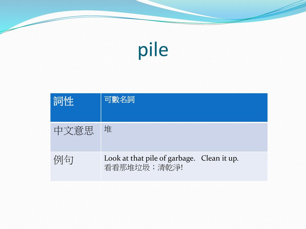 pile 詞性 中文意思 例句 可數名詞 堆 Look at that pile of garbage. Clean it up.
