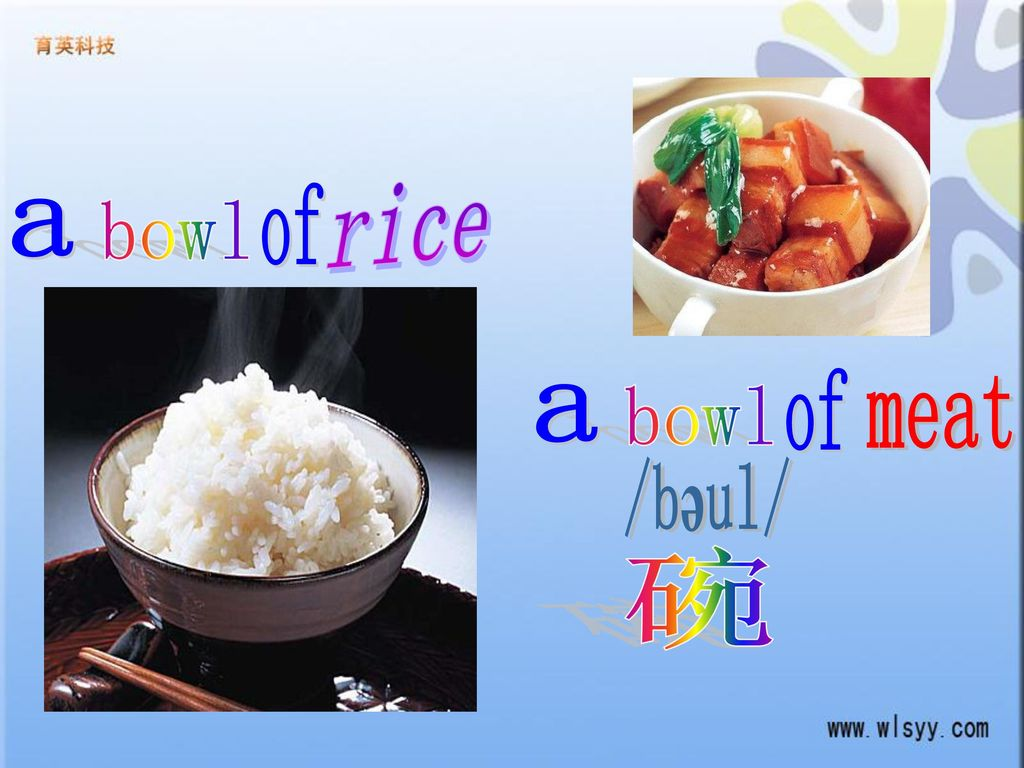 rice of a bowl of meat a bowl /bəul/ 碗