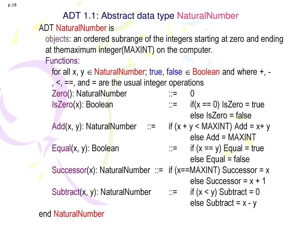 ADT 1.1: Abstract data type NaturalNumber