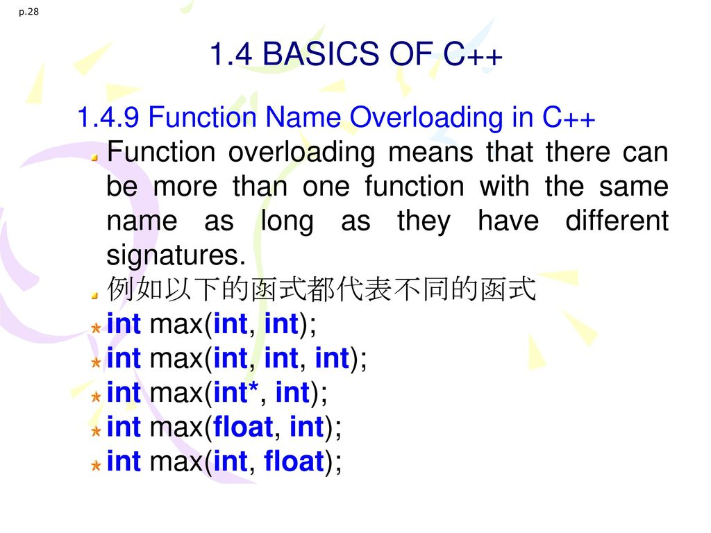 1.4 BASICS OF C++ 1.4.9 Function Name Overloading in C++