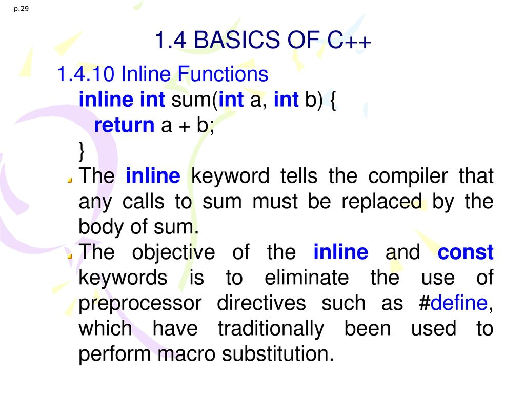 1.4 BASICS OF C++ 1.4.10 Inline Functions