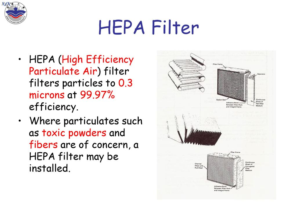 HEPA Filter HEPA (High Efficiency Particulate Air) filter filters particles to 0.3 microns at 99.97% efficiency.