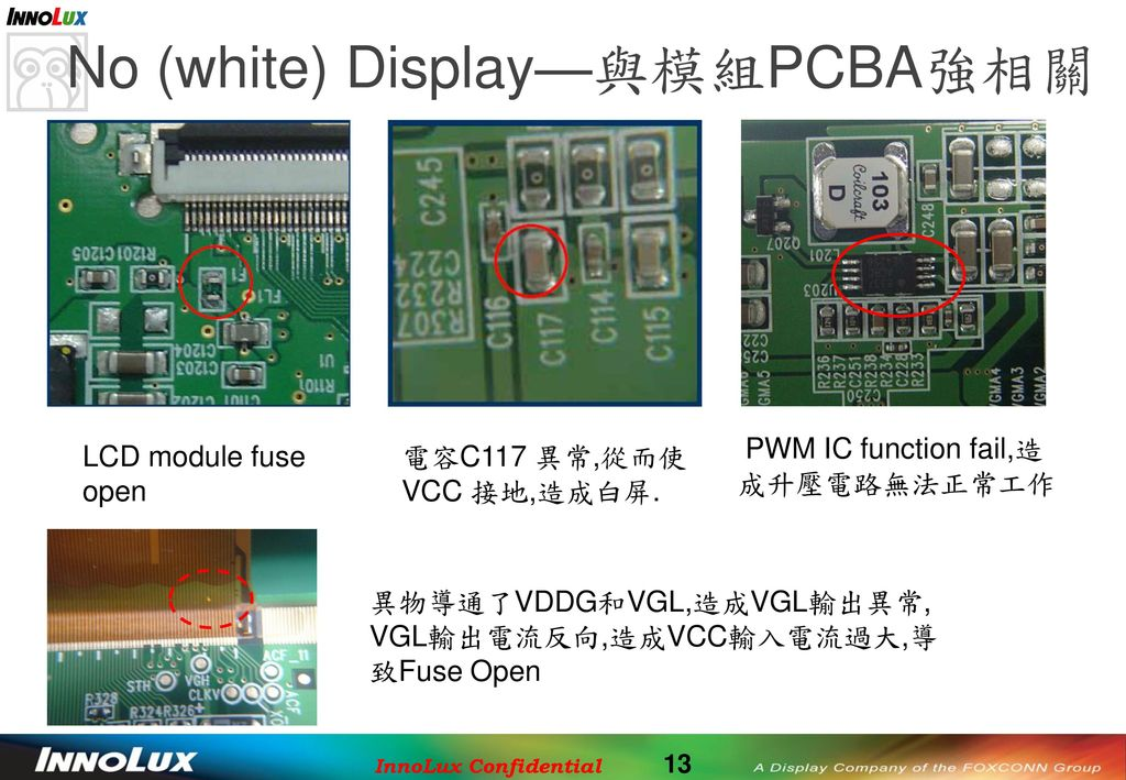 No (white) Display—與模組PCBA強相關
