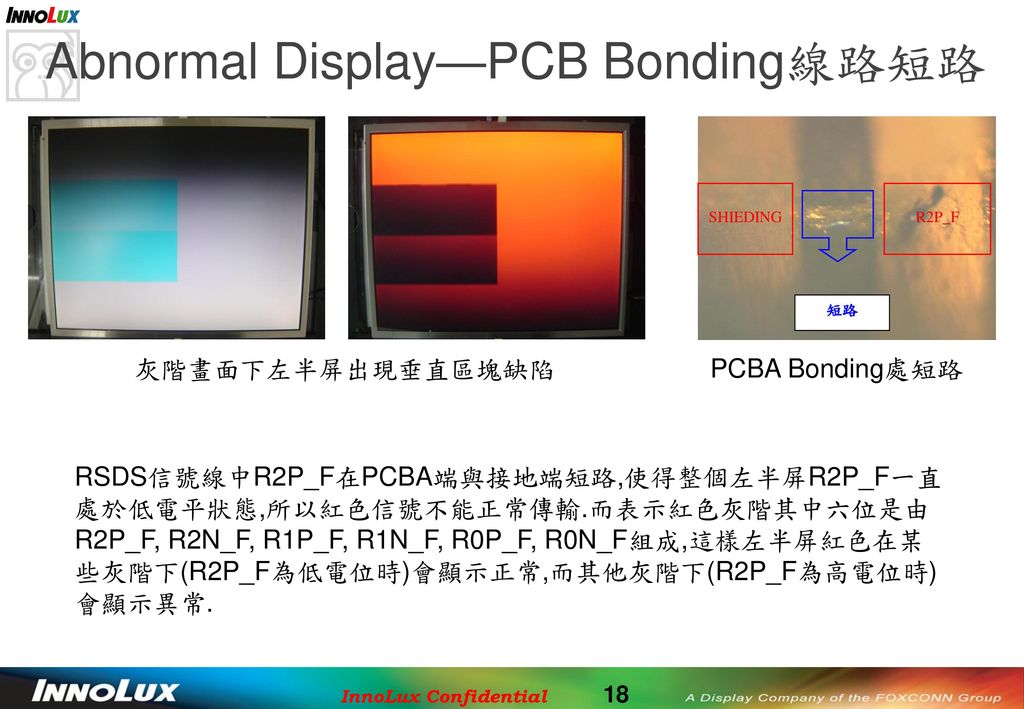 Abnormal Display—PCB Bonding線路短路