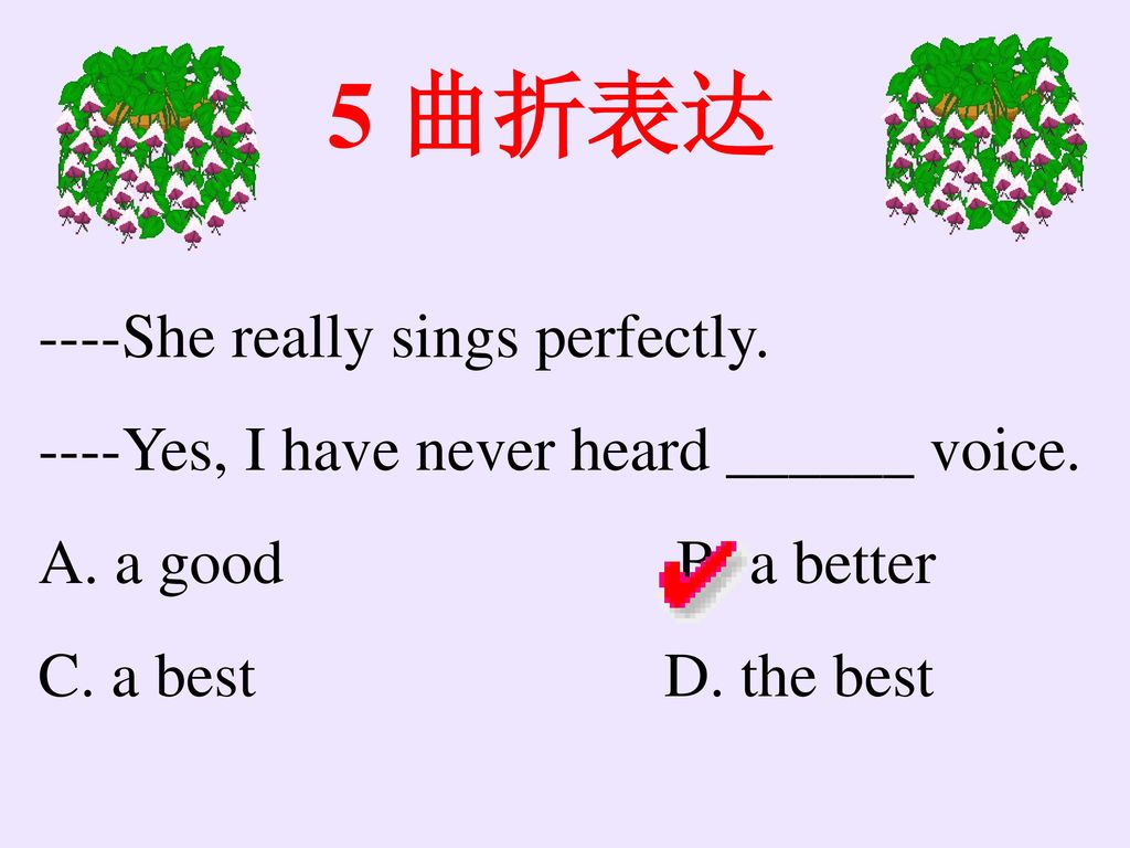 5 曲折表达 ----She really sings perfectly.