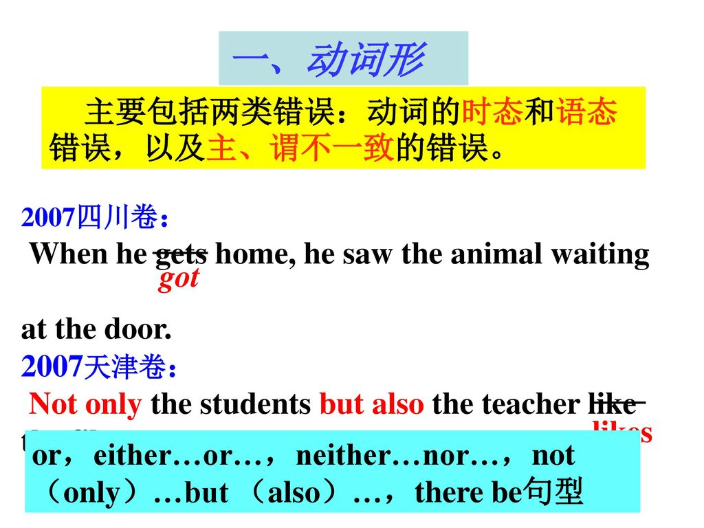 一、动词形 When he gets home, he saw the animal waiting at the door. got