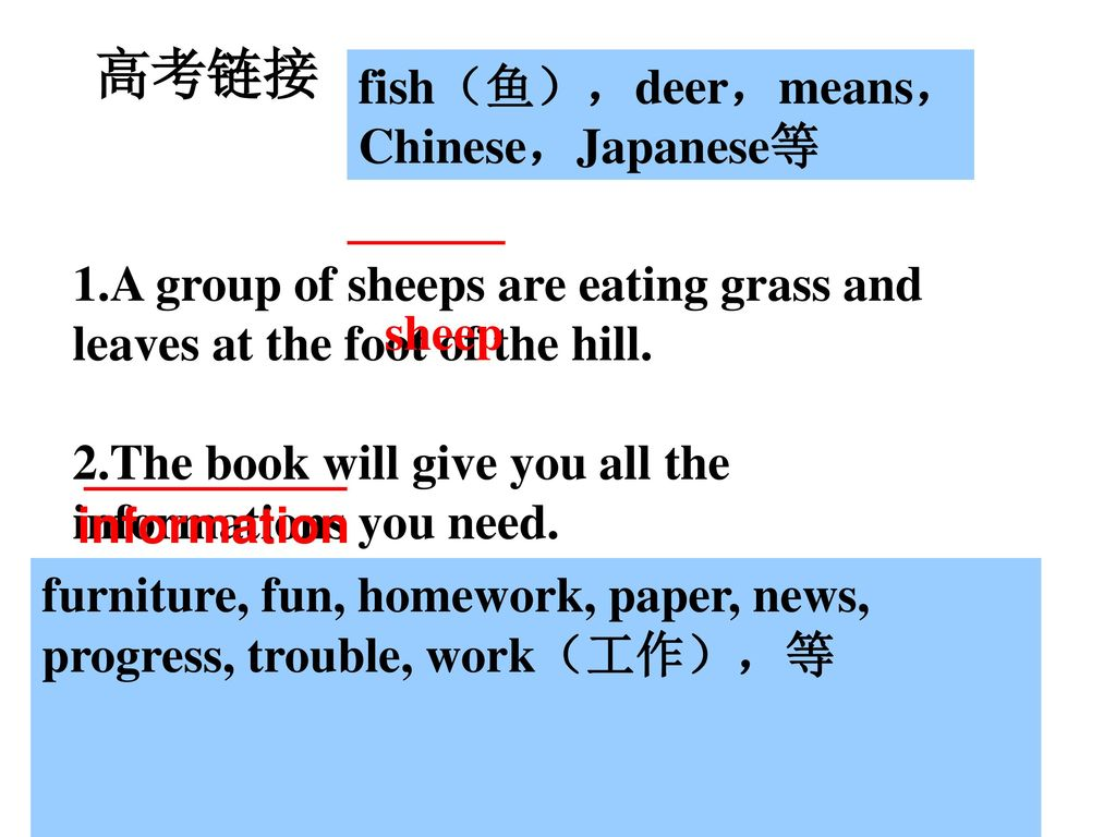 高考链接 fish(鱼),deer,means, Chinese,Japanese等
