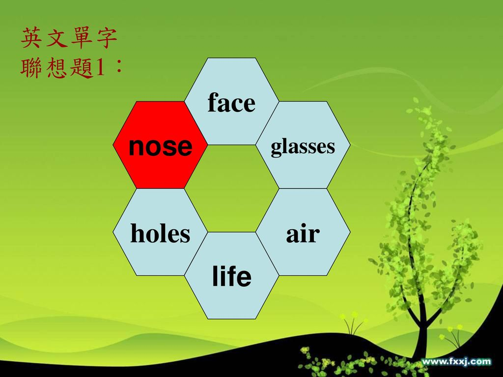 英文單字 聯想題1: face nose glasses holes air life