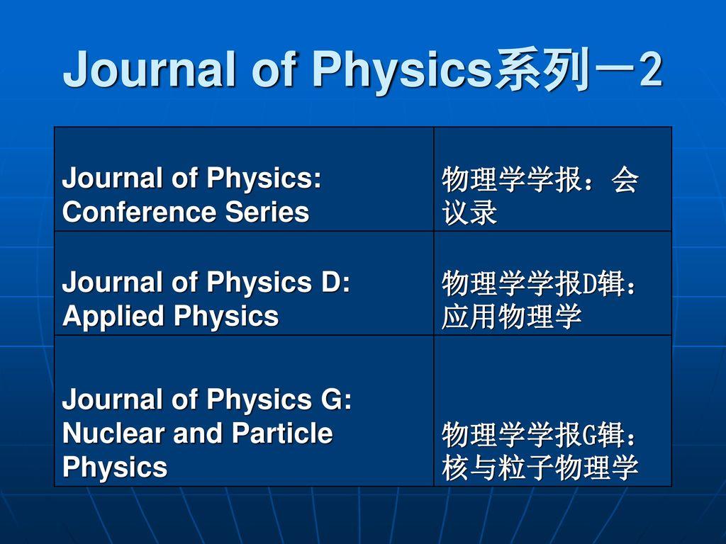 英国物理学会出版社IOP期刊介绍  - ppt download