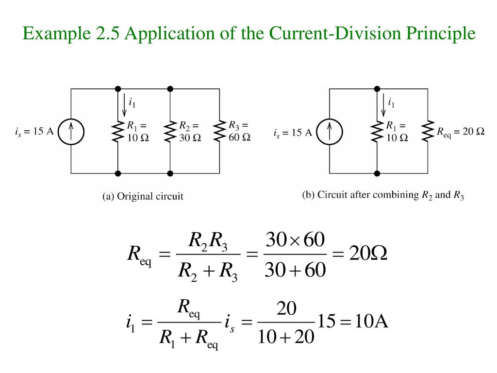 Example 2.5 Application of the Current-Division Principle