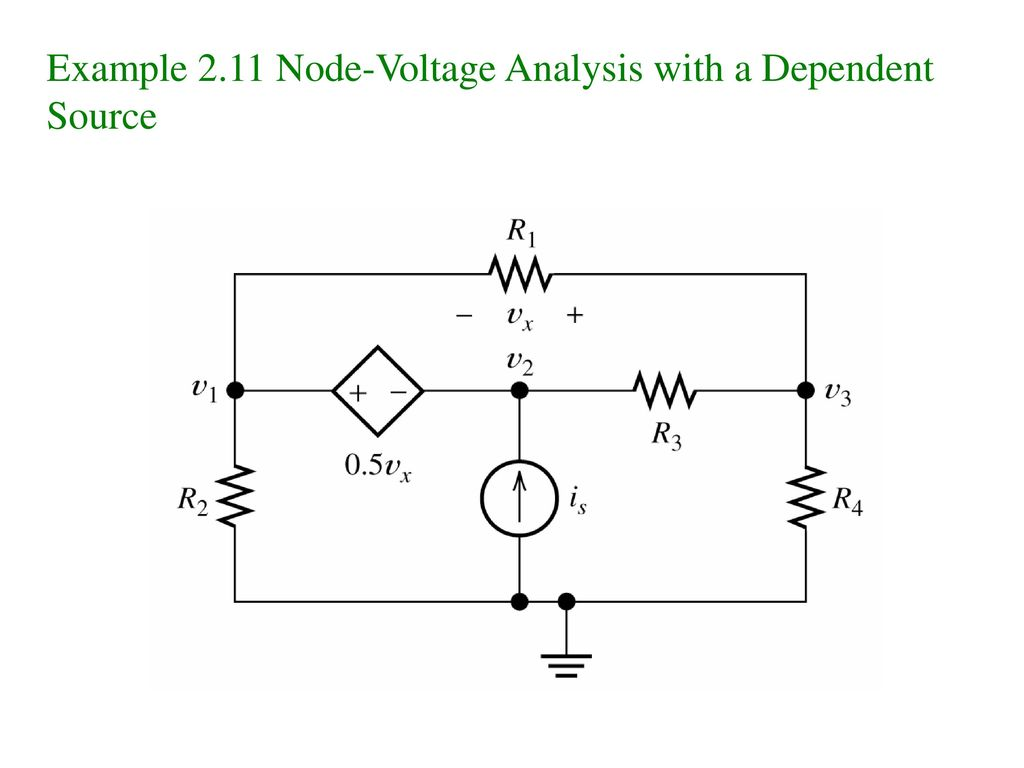 Example 2.11 Node-Voltage Analysis with a Dependent Source