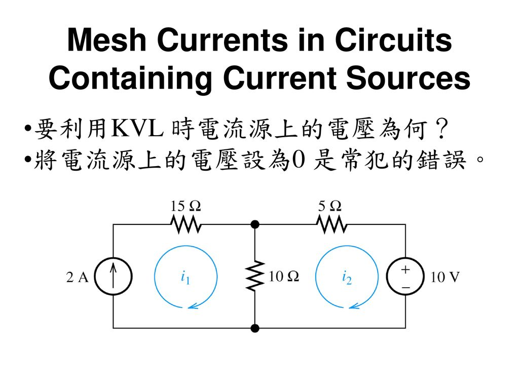 Mesh Currents in Circuits Containing Current Sources