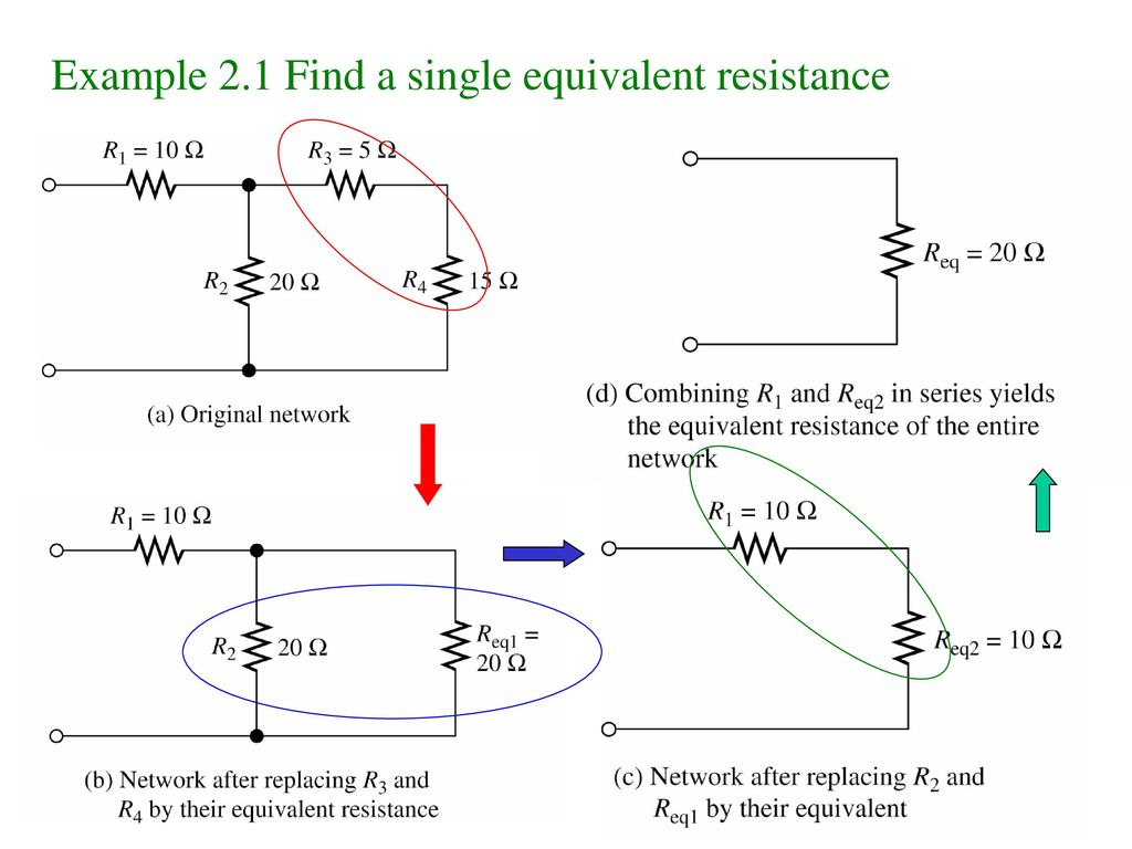 Example 2.1 Find a single equivalent resistance