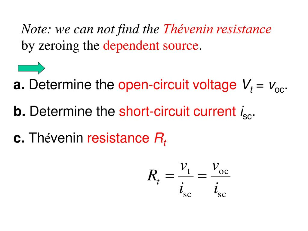 Note: we can not find the Thévenin resistance by zeroing the dependent source.