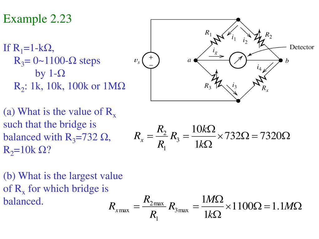Example 2.23 If R1=1-kΩ, R3= 0~1100-Ω steps by 1-Ω