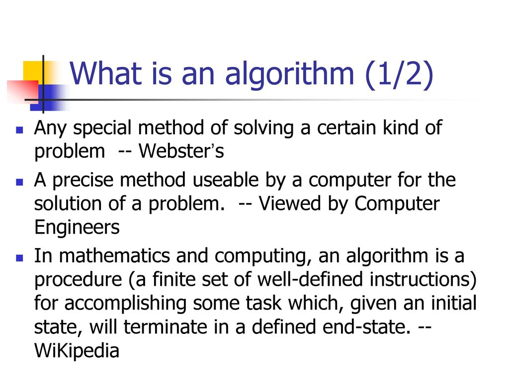 What is an algorithm (1/2)