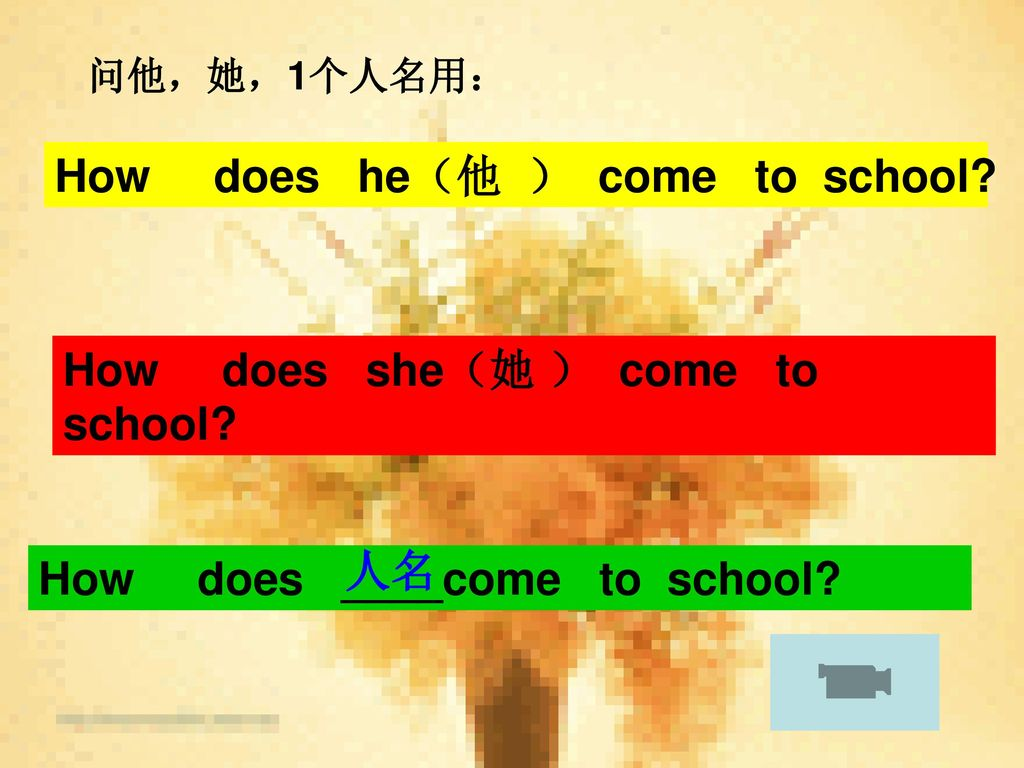 How does he(他 ) come to school