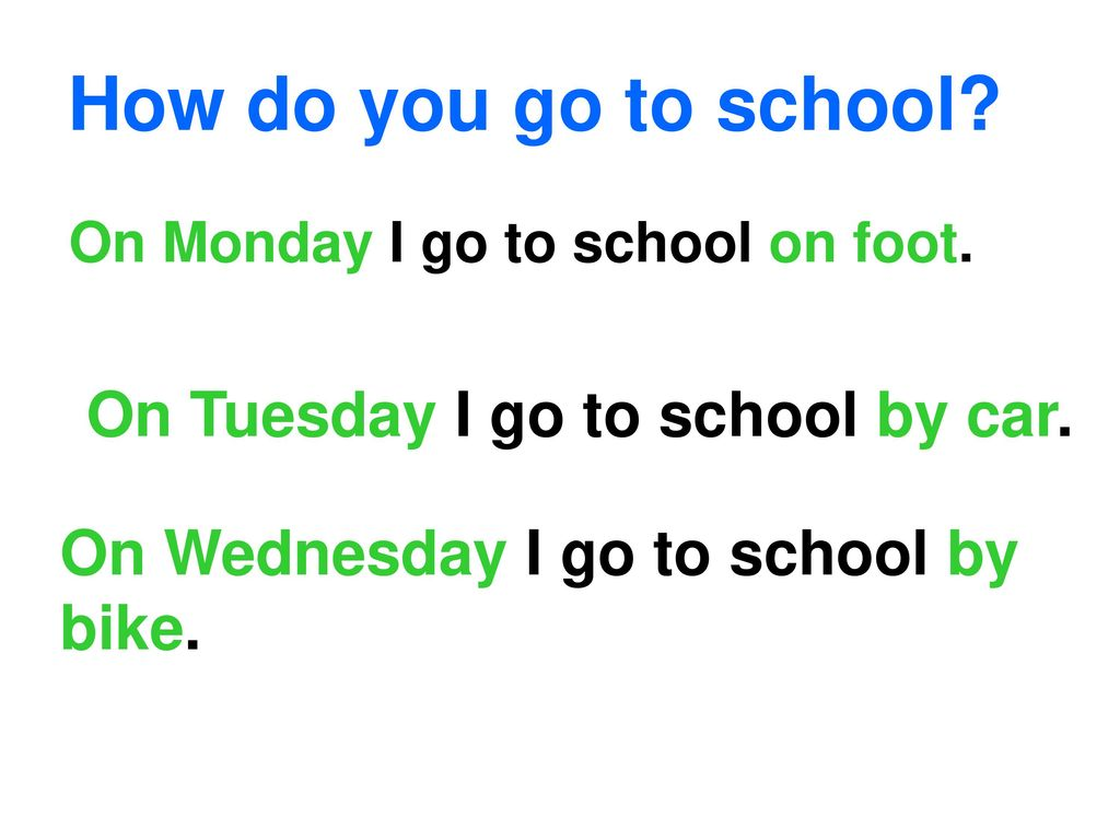 How do you go to school On Tuesday I go to school by car.