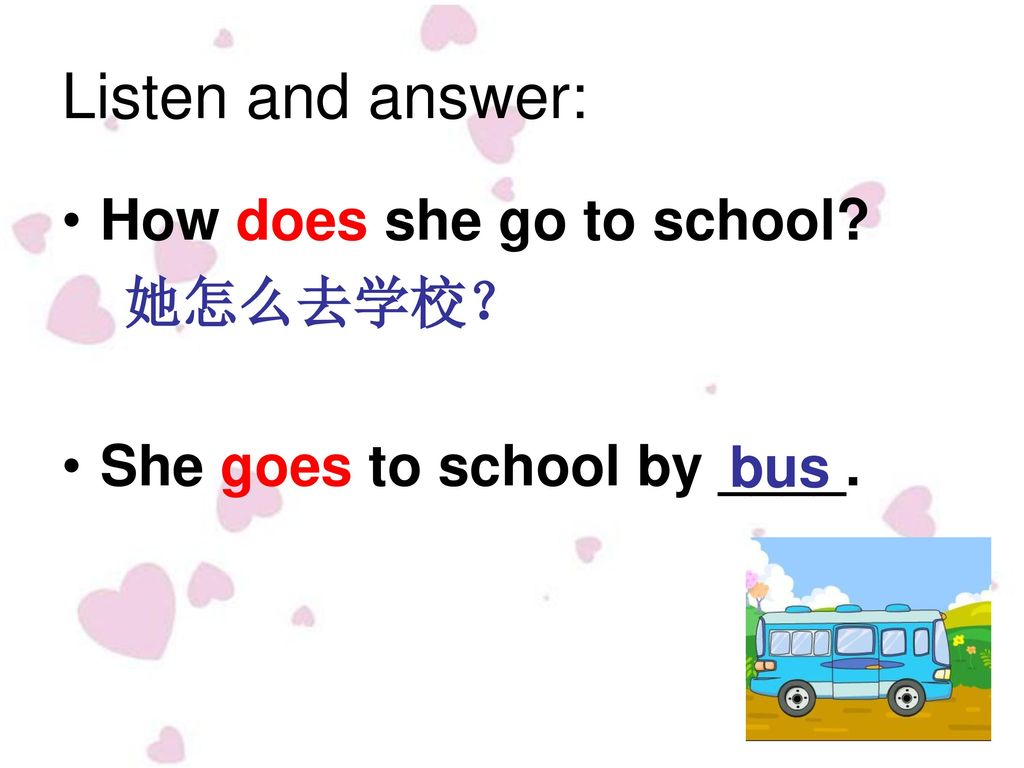 Listen and answer: How does she go to school 她怎么去学校?