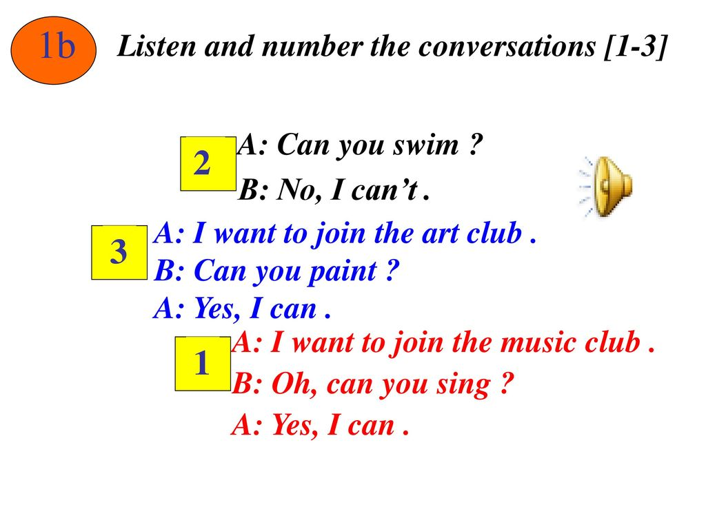 1b Listen and number the conversations [1-3] A: Can you swim